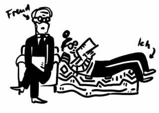 Zwei Comicfiguren sind zu sehen: die erste Person soll den Psychoanalyter Freud darstellen und die zweite Figure liegt auf der Couch und soll die Zeichnerin Franziska darstellen